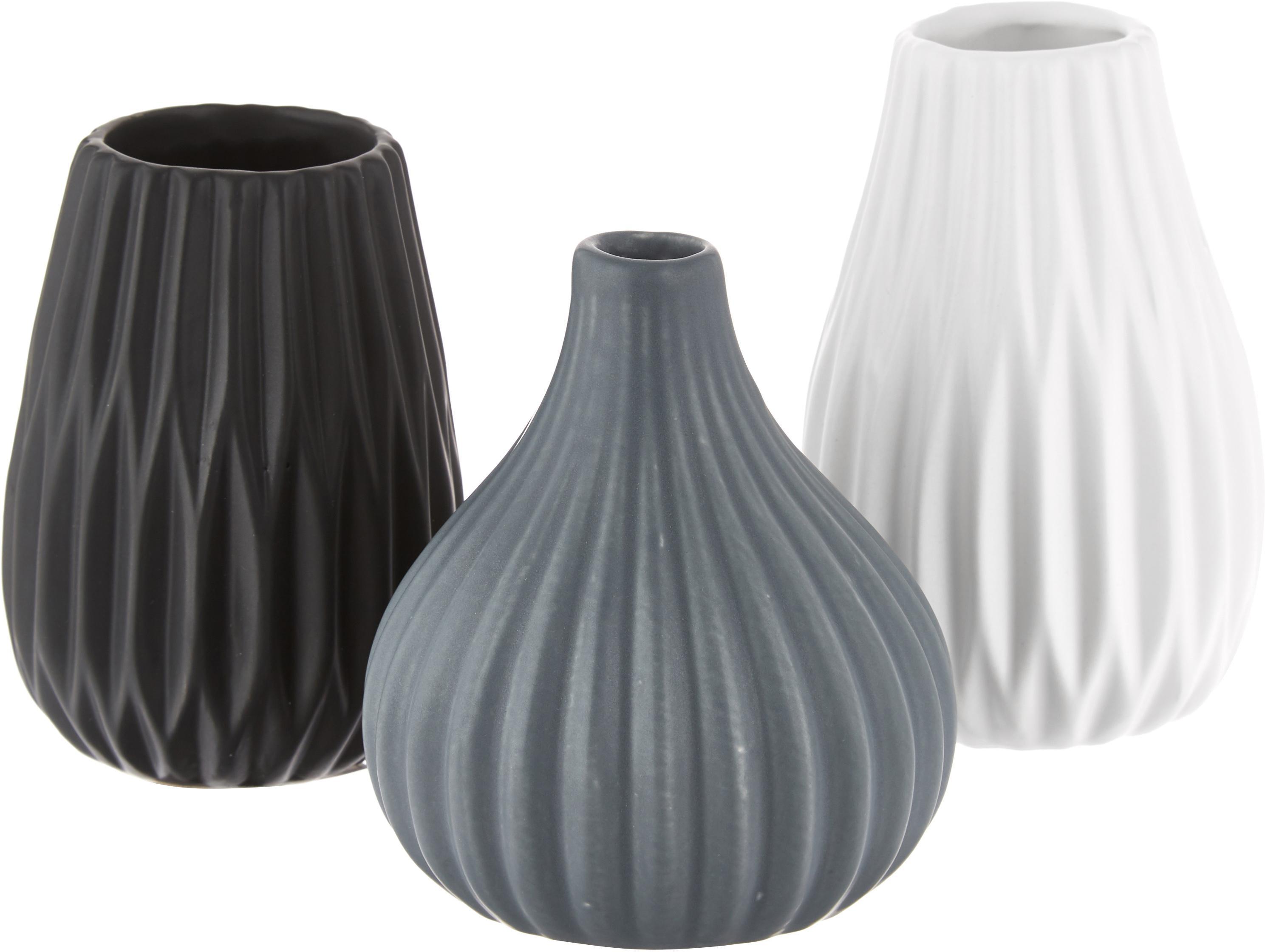 Vazenset Wilma, 3-delig, Keramiek, Blauw, zwart, wit, Ø 9 x H 11 cm