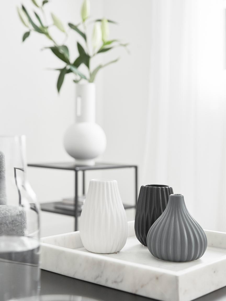 Kleines Vasen-Set Wilma aus Steingut, 3-tlg., Steingut, Blau, Schwarz, Weiß, Ø 9 x H 11 cm