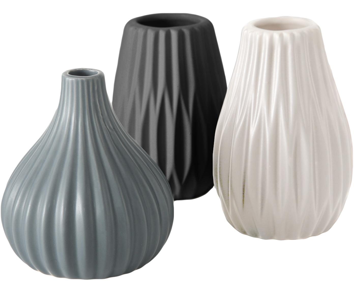 Kleines Vasen-Set Wilma aus Steingut, 3-tlg., Steingut, Blau, Schwarz, Weiss, Ø 9 x H 11 cm