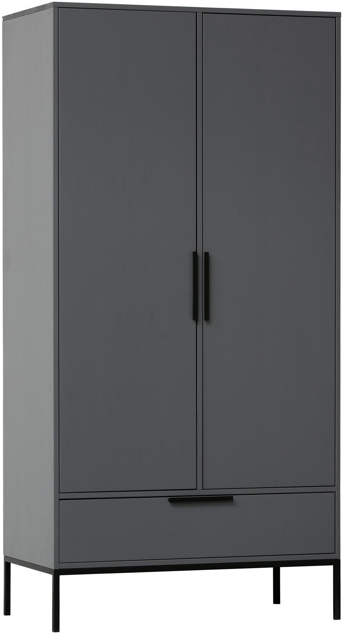 Szafa Adam, Korpus: drewno sosnowe, lakierowa, Nogi: metal powlekany, Stalowoszary, S 100 x W 200 cm