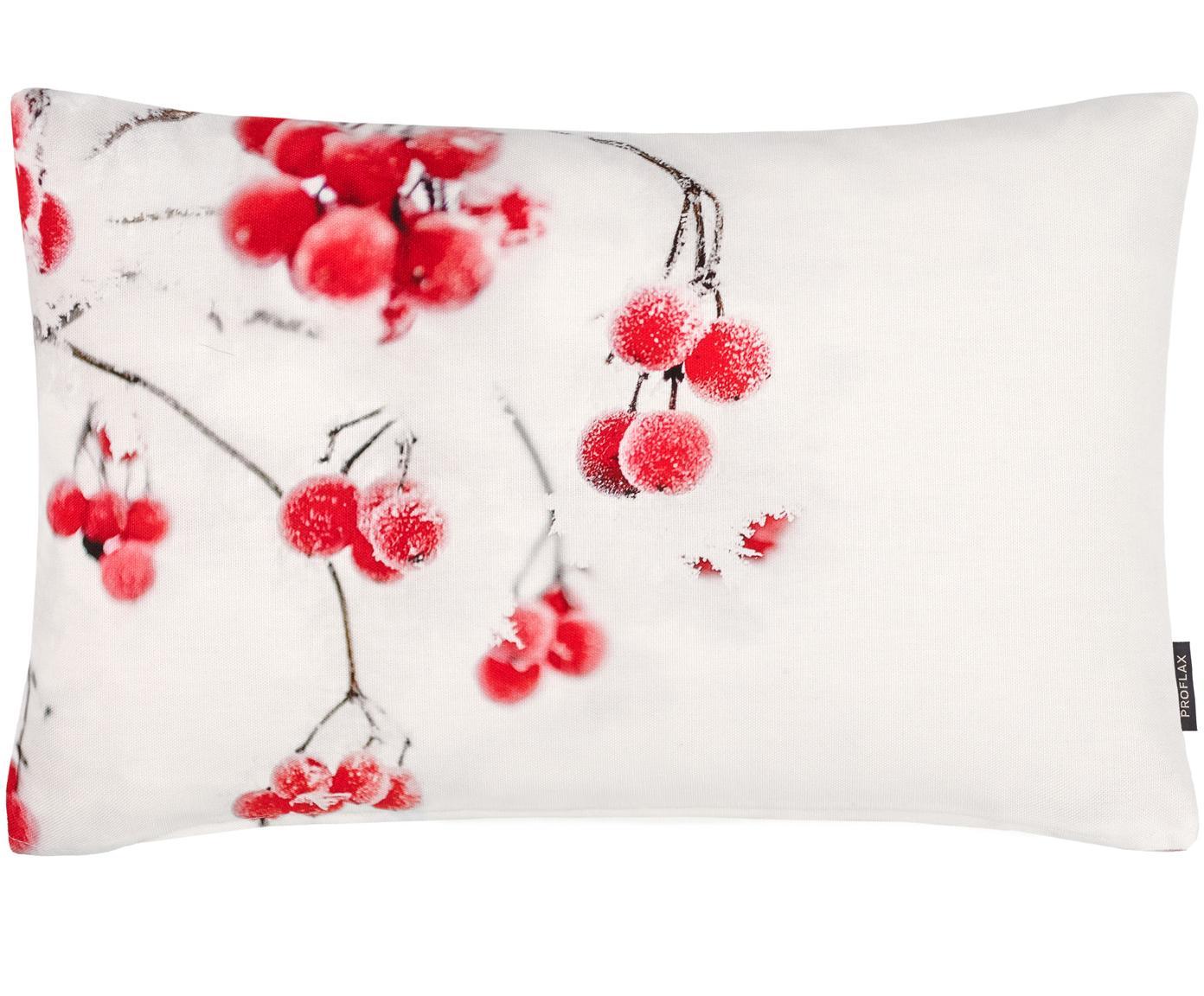 Kissenhülle Tiny mit winterlichem Motiv, Baumwolle, Weiß, Rot, Grau, 30 x 50 cm