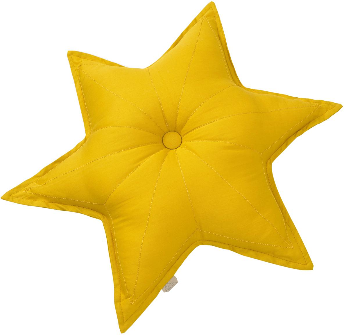 Cojín de algodón ecológico Star, con relleno, Exterior: algodón orgánico, Mostaza, An 45 x L 45 cm