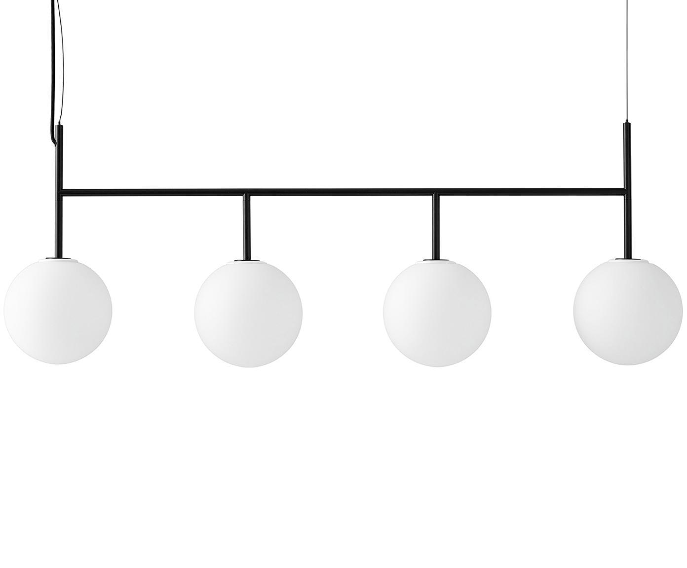 Große LED Pendelleuchte TR Bulb aus Opalglas, Lampenschirm: Opalglas, Weiß, Schwarz, 125 x 45 cm