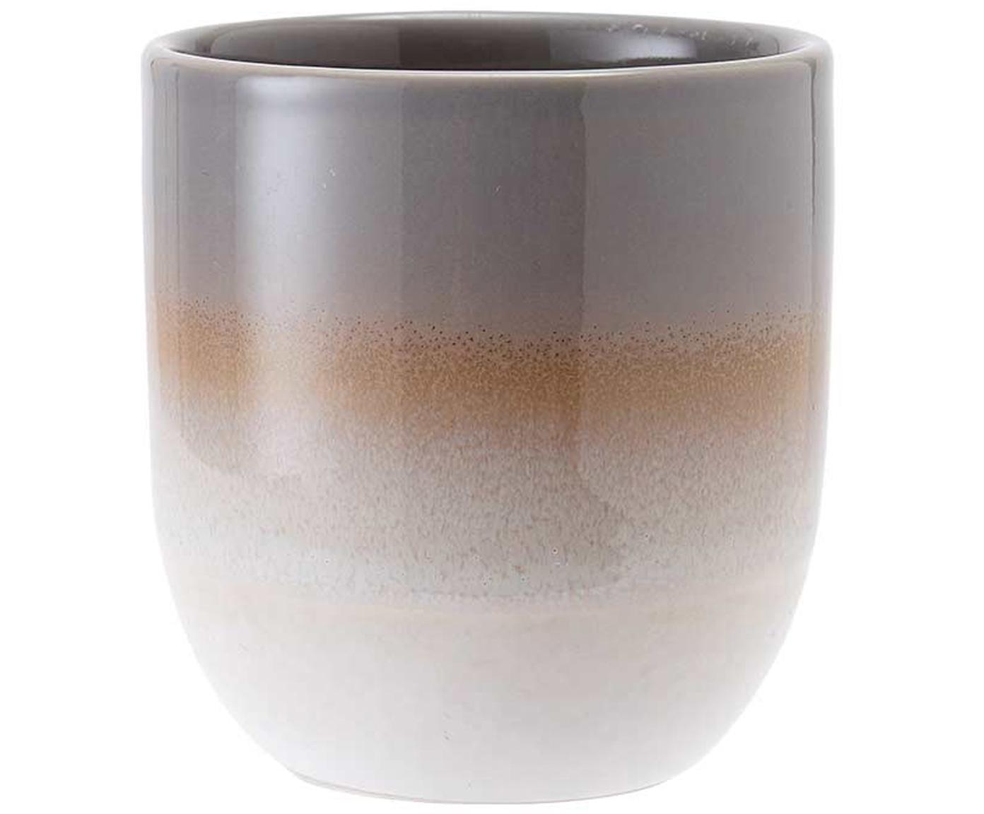 Becher Café mit Farbverlauf, 4 Stück, Steingut, Braun, Ø 8 x H 9 cm