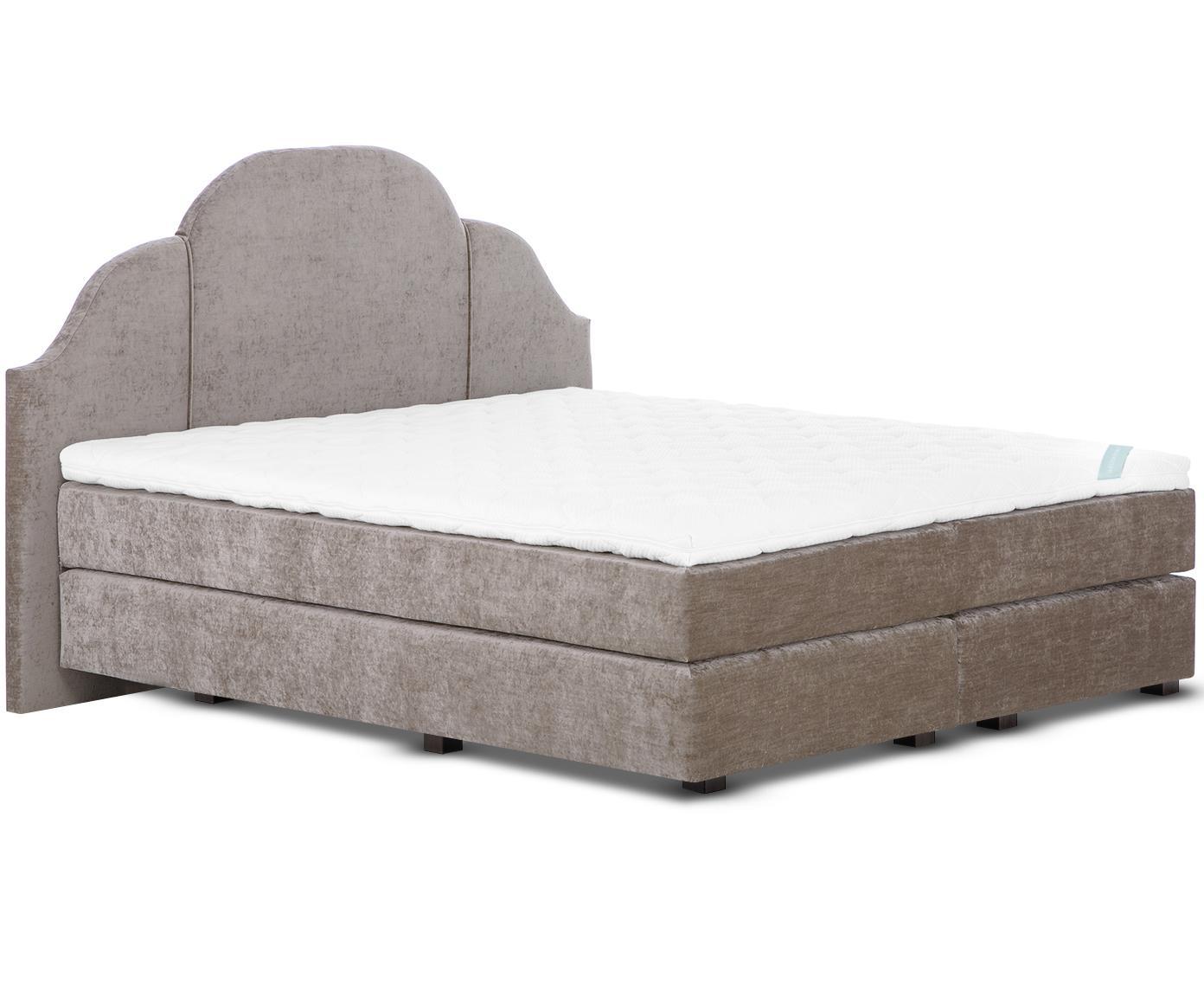 Łóżko kontynentalne z aksamitu premium Gloria, Nogi: lite drewno bukowe, lakie, Taupe, 140 x 200 cm