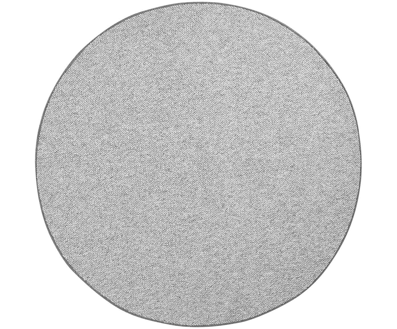 Rond vloerkleed Lyon met lussenpool, Bovenzijde: 100% polypropyleen, Onderzijde: vlies, Gemengd grijs, Ø 133 cm (maat M)