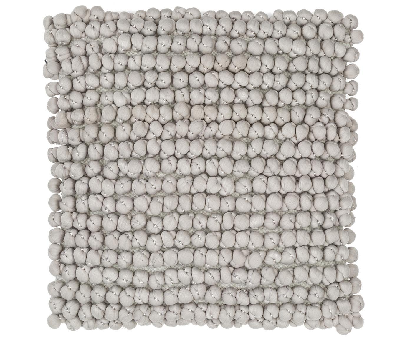 Kissen Bergen mit kleinen Stoffkugeln, mit Inlett, Hellgrau, 45 x 45 cm