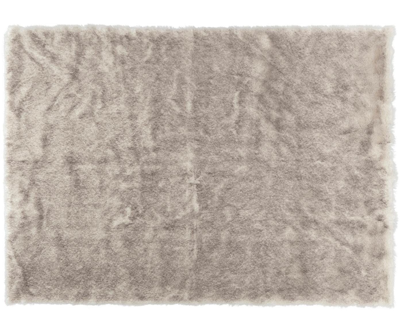 Pluizig hoogpolig vloerkleed Superior van imitatievacht, Bovenzijde: 95% acryl, 5% polyester, Onderzijde: kunstleer, Crèmekleurig, beige, wit, B 120 x L 170 cm (maat S)