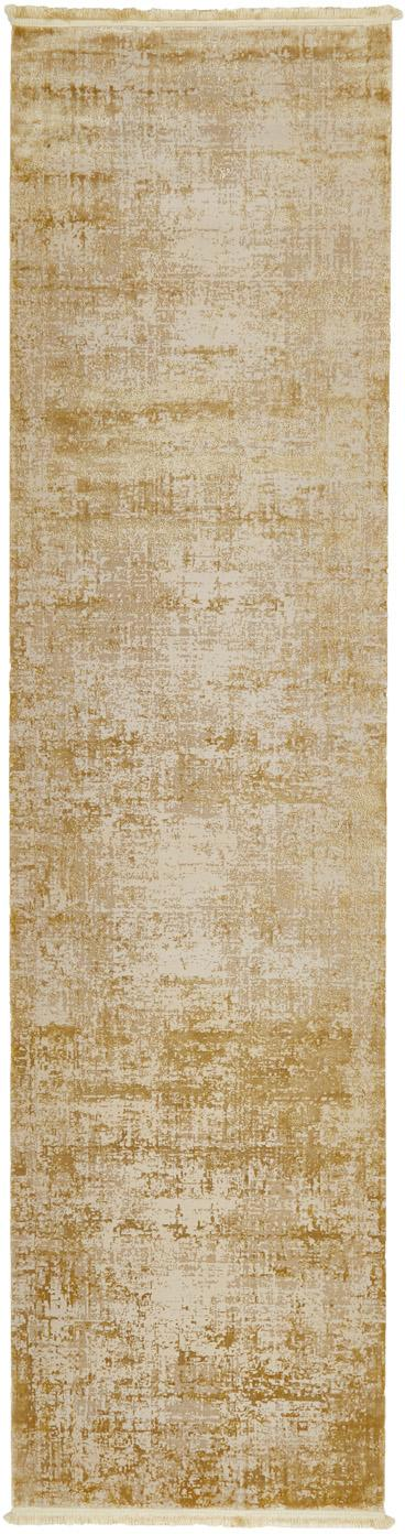 Passatoia vintage con frange effetto lucido Cordoba, Retro: cotone, Tonalità beige, Larg. 80 x Lung. 300 cm
