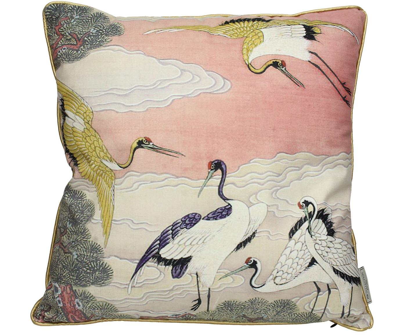 Samt-Kissen Storcks, mit Inlett, Polyestersamt, Mehrfarbig, 45 x 45 cm