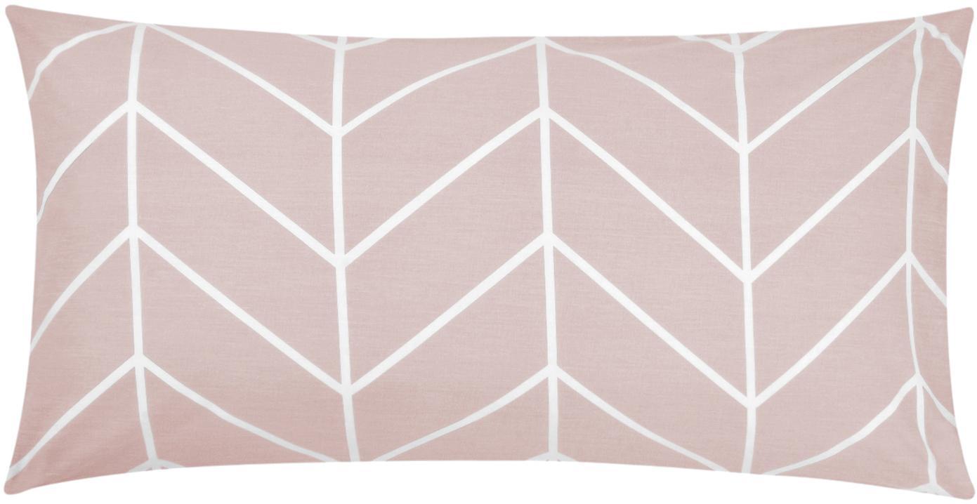 Baumwoll-Kissenbezüge Mirja mit grafischem Muster, 2 Stück, Webart: Renforcé Fadendichte 144 , Altrosa, Cremeweiß, 40 x 80 cm