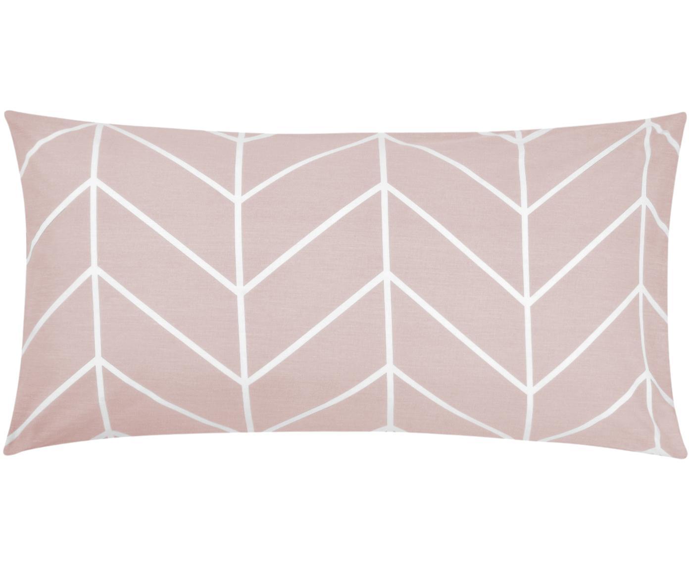 Baumwoll-Kissenbezüge Mirja mit grafischem Muster, 2 Stück, Webart: Renforcé Fadendichte 144 , Altrosa, Cremeweiss, 40 x 80 cm