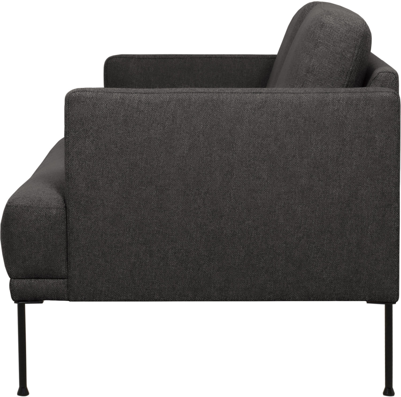 Sofa Fluente (2-Sitzer), Bezug: 100% Polyester Der hochwe, Gestell: Massives Kiefernholz, Füße: Metall, pulverbeschichtet, Webstoff Dunkelgrau, B 166 x T 85 cm