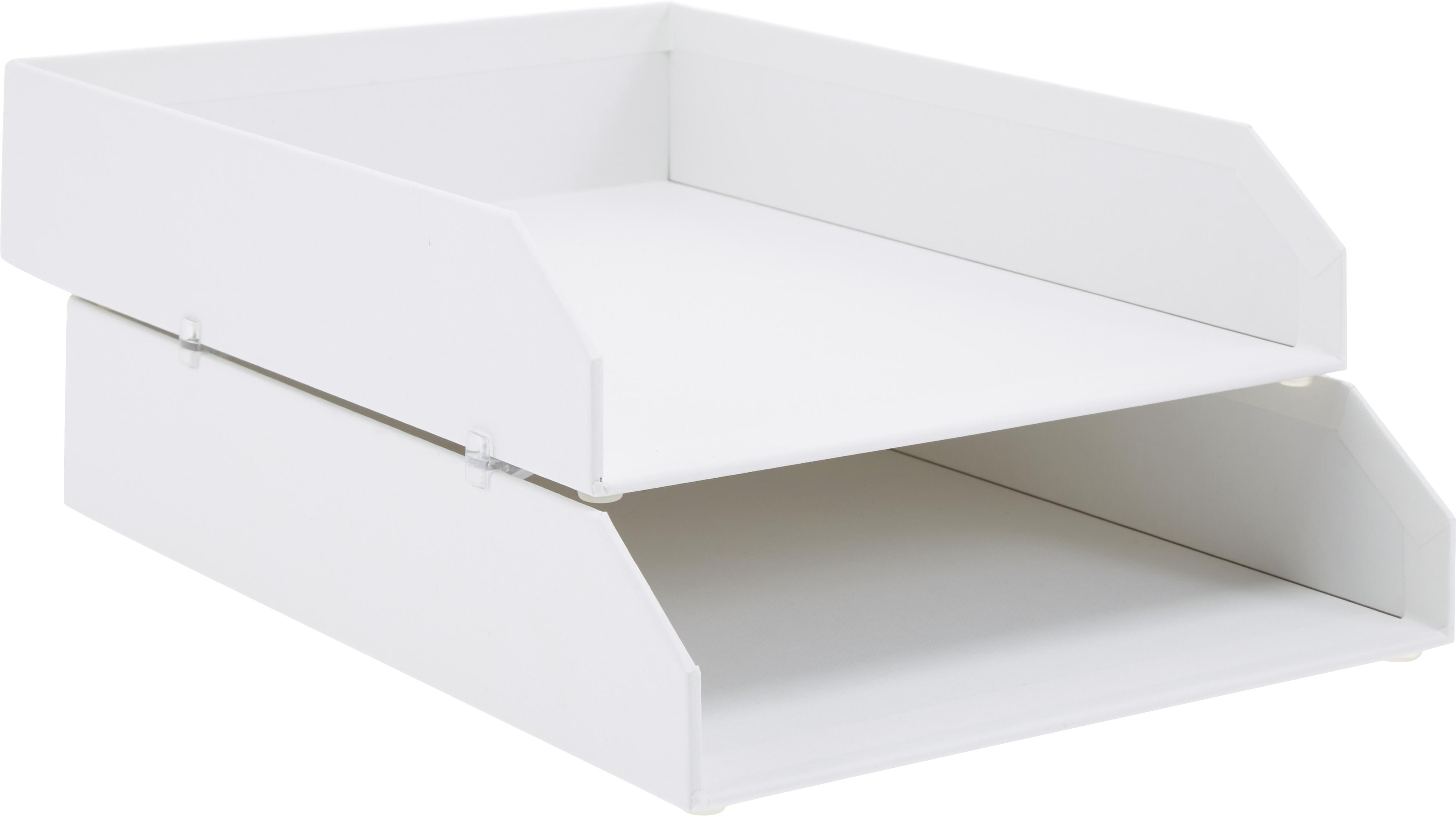 Vassoio per documenti Hakan, 2 pz., Solido, cartone laminato, Bianco, Larg. 23 x Prof. 31 cm
