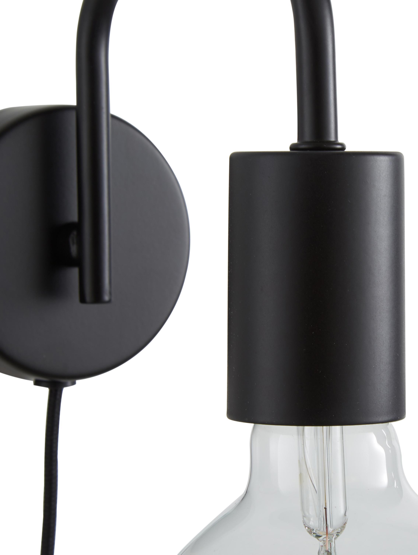 Applique avec prise secteur Flow, Rosace: noir, mat Câble: noir