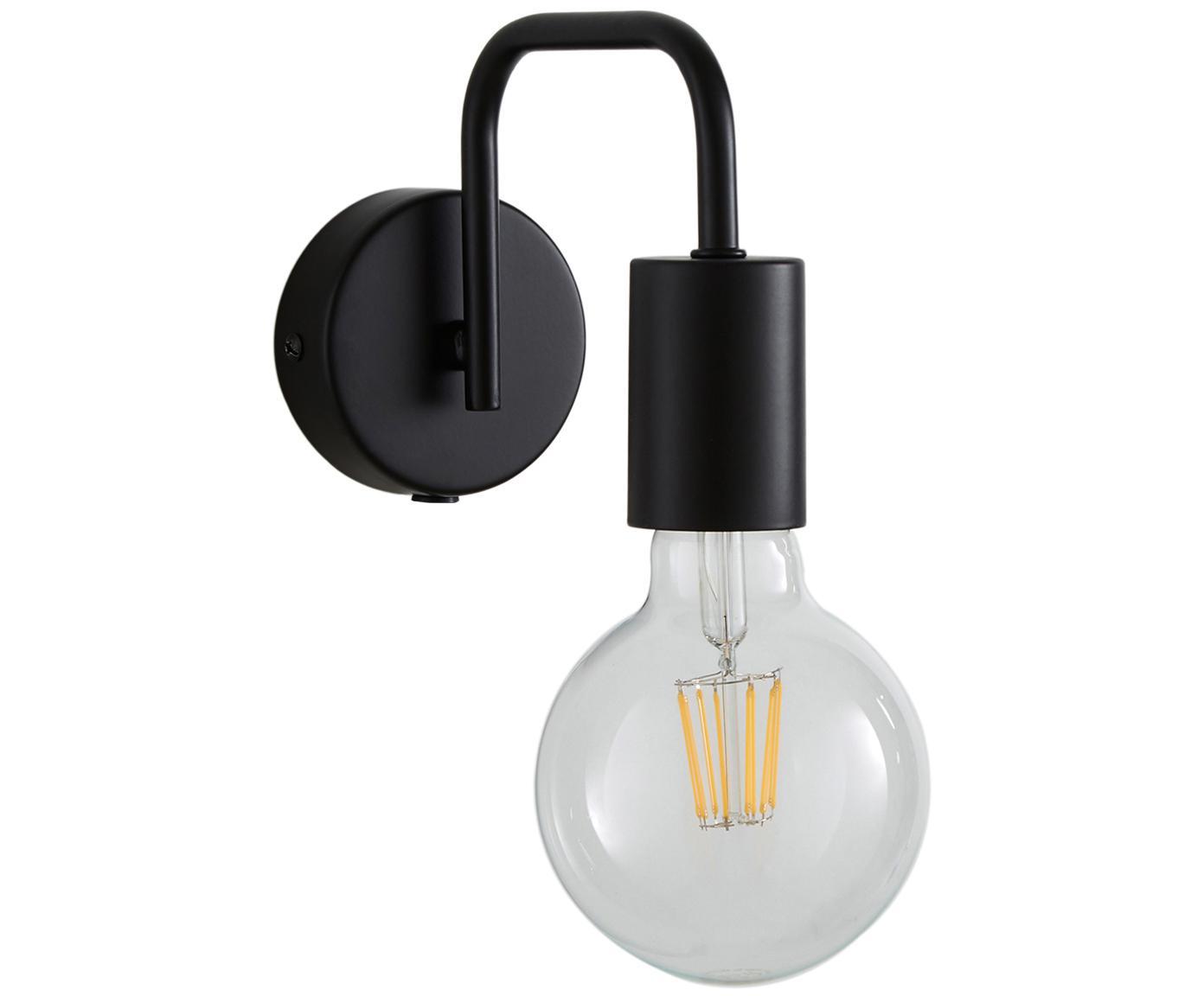 Wandlamp Flow met stekker, Baldakijn: gepoedercoat metaal, Baldakijn: mat zwart. Snoer: zwart, 8 x 12 cm