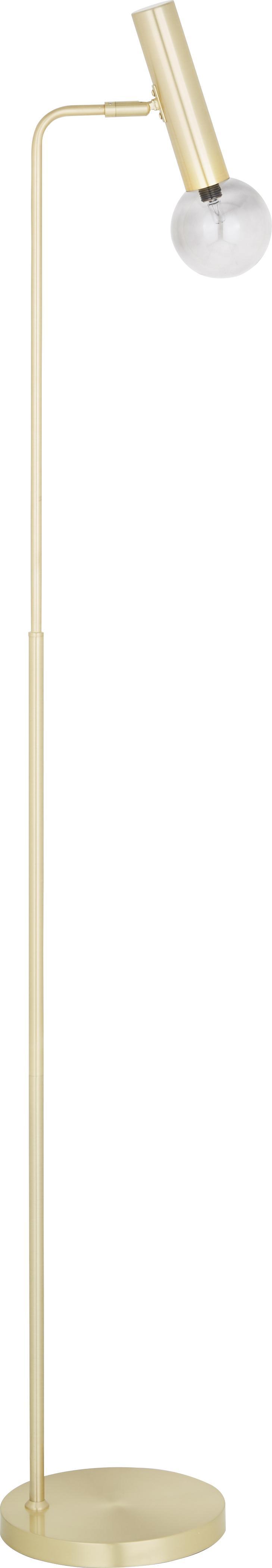 Vloerlamp Wilson, Frame: vermessingd metaal, Fitting: vermessingd metaal, Lampenkap: glas, Messingkleurig, Ø 23 x H 153 cm