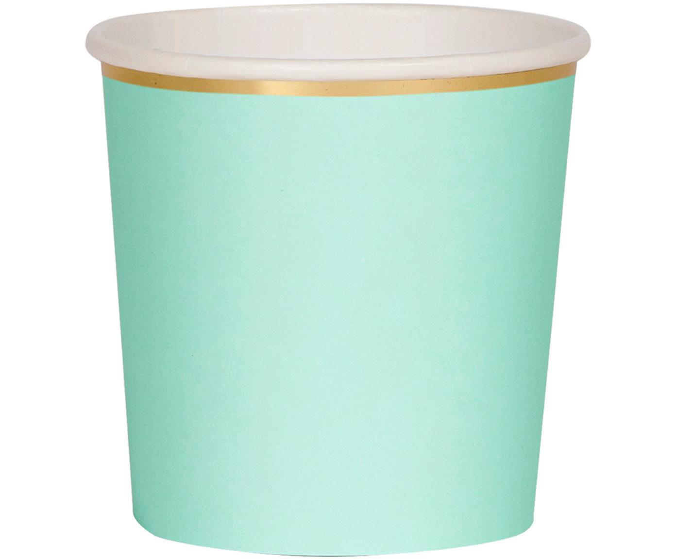 Vasos de papel Simply Eco, 8uds., Papel, foliert, Verde menta, Ø 8 x Al 8 cm