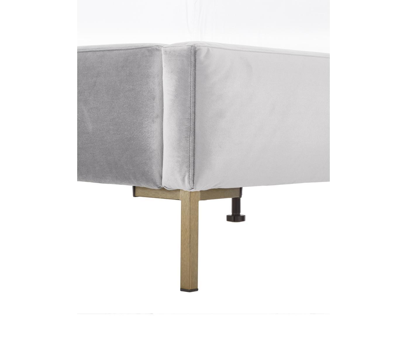 Samt-Polsterbett Peace, Korpus: Massives Kiefernholz, Füße: Metall, pulverbeschichtet, Bezug: Polyestersamt 30.000 Sche, Samt Hellgrau, 200 x 200 cm