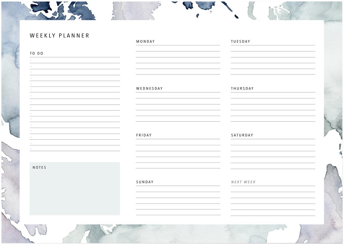 Agenda settimanale Pastel Stains, Carta, Tonalità blu, bianco, Larg. 30 x Alt. 21 cm