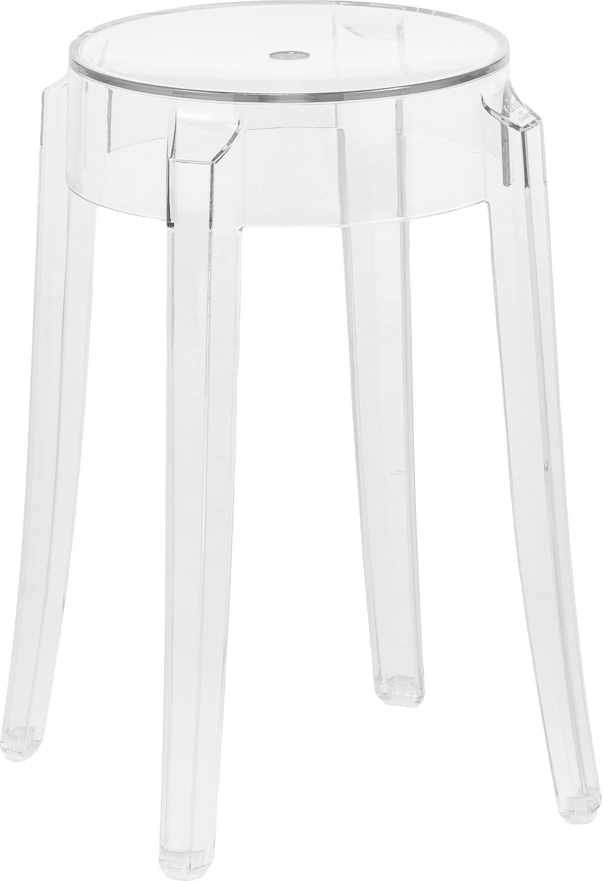 Transparante kruk Ghost, Polycarbonaat, Transparant, Ø 39 x H 46 cm