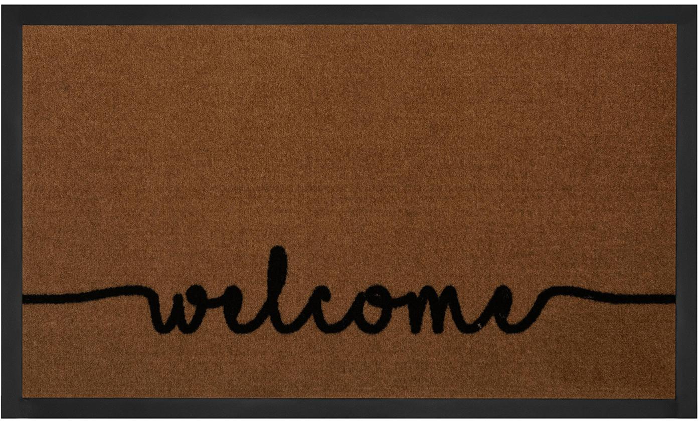 Polyamid-Fussmatte Cozy Welcome, Vorderseite: Polyamid, Rückseite: Gummi, Braun, Schwarz, 45 x 75 cm