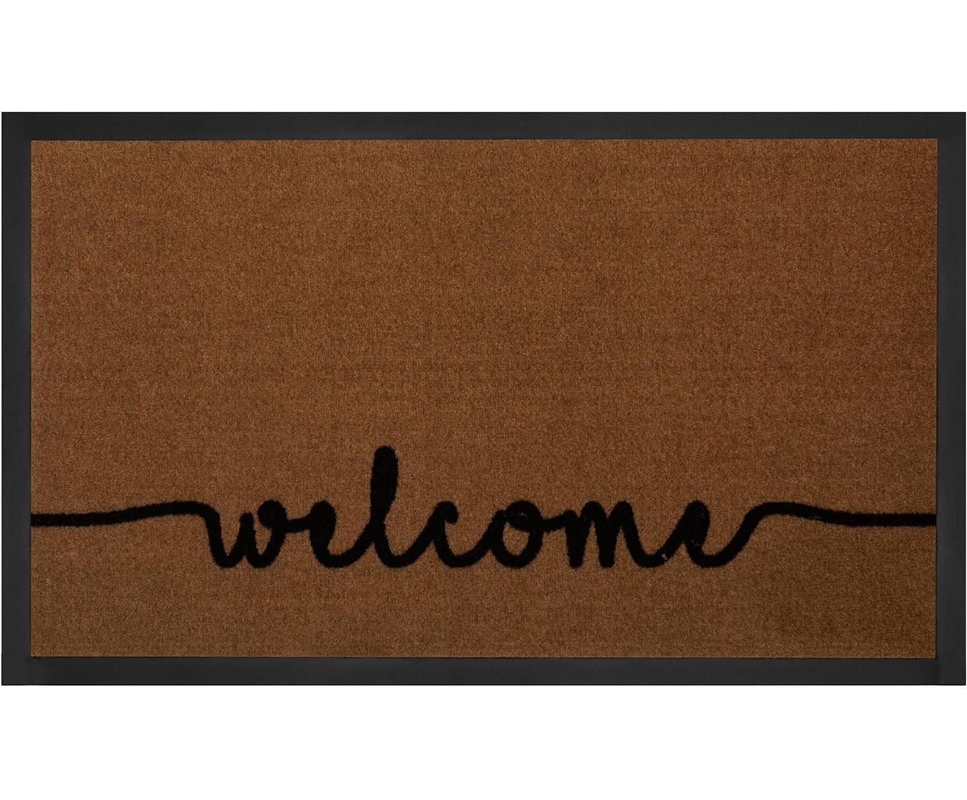 Deurmat Cozy Welcome, Bovenzijde: polyamide, Onderzijde: rubber, Bruin, zwart, 45 x 75 cm