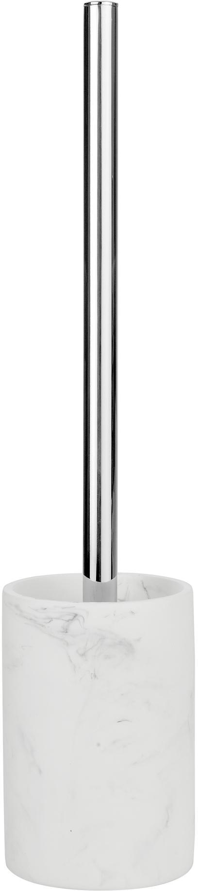 Toilettenbürste Swan in Marmor-Optik, Behälter: Kunststoff (Polyresin), Griff: Kunststoff (Plastik), Behälter: Weiss, marmoriertGriff: Silberfarben, Ø 9 x H 40 cm