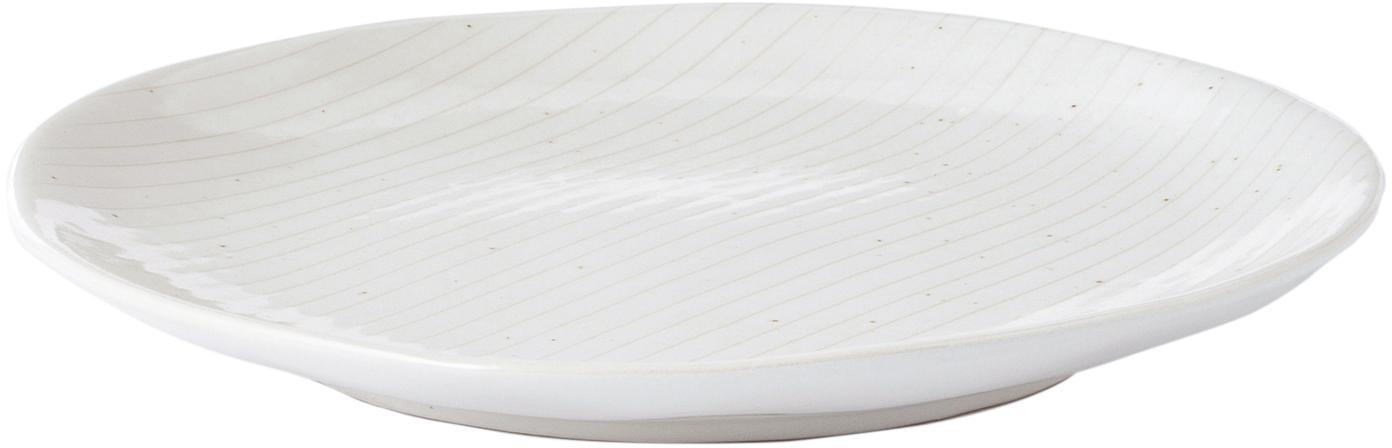 Handgemachte Frühstücksteller Copenhagen mit feinen Streifen, 4 Stück, Steingut, Elfenbein mit feinen hellbeigen Streifen, Ø 20 x H 2 cm