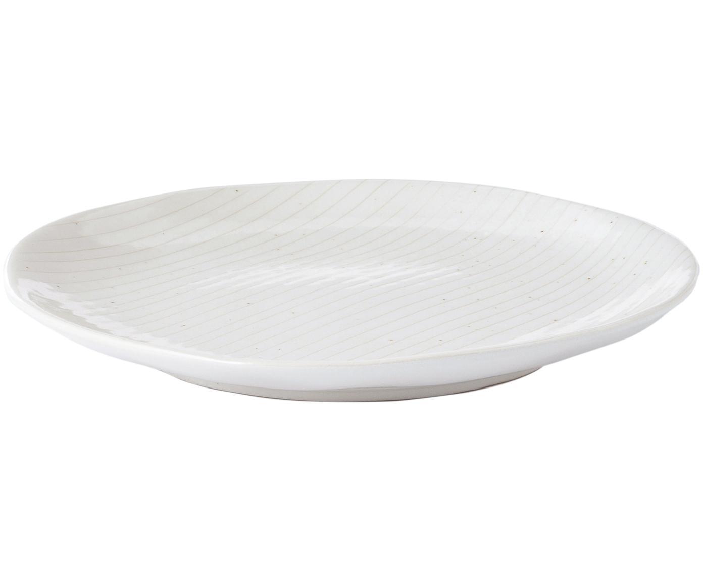 Piatto da colazione fatto a mano Copenhagen 4 pz, Terracotta, Avorio con sottili righe beige chiaro, Ø 20 x Alt. 2 cm