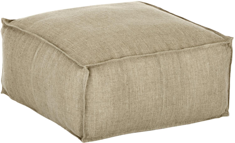 Cuscino da pavimento in lino fatto a mano Zafferano, Rivestimento: lino, Taupe, Larg. 50 x Alt. 25 cm