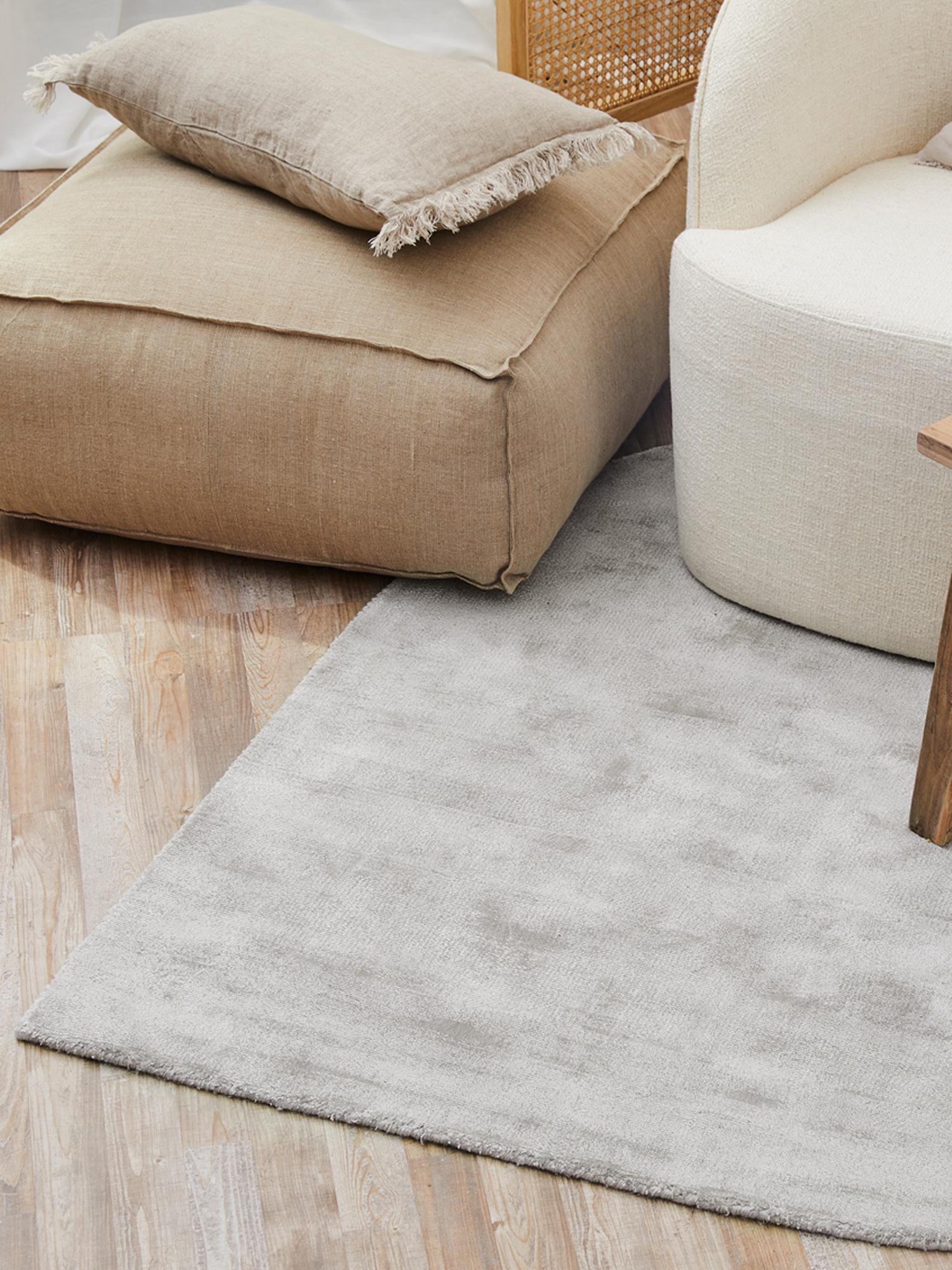 Cuscino da pavimento in lino fatto a mano Zafferano, Rivestimento: lino, Taupe, Larg. 70 x Alt. 30 cm