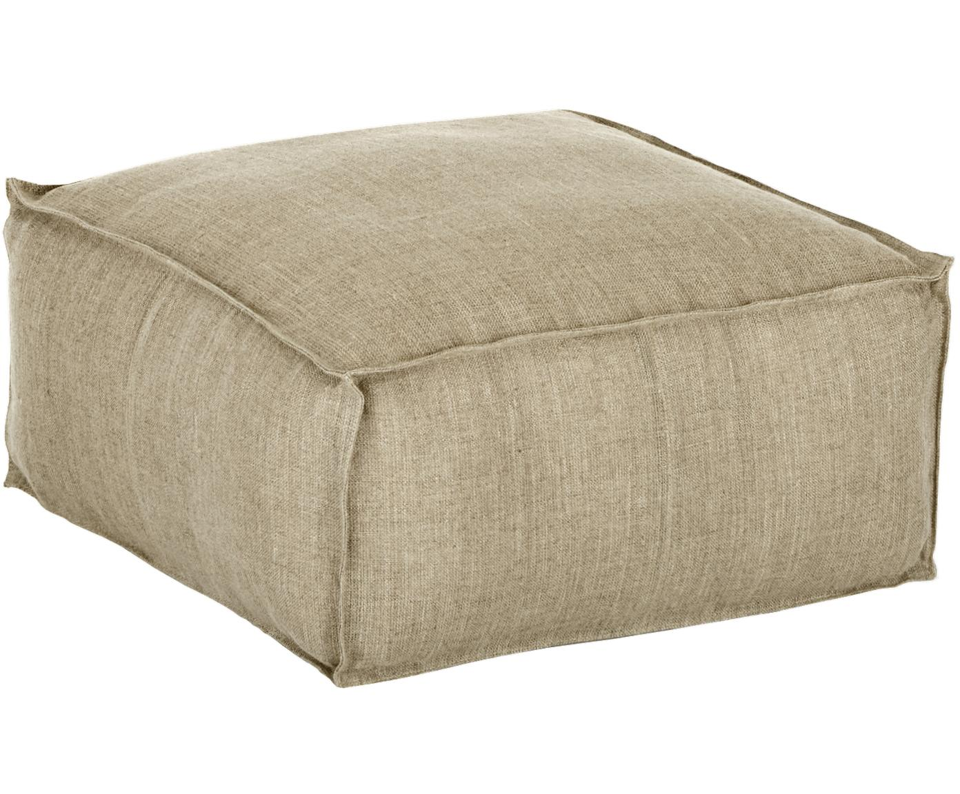 Handgefertigtes Leinen-Bodenkissen Saffron, Bezug: 100% Leinen, Unterseite: Baumwolle, Taupe, 50 x 25 cm