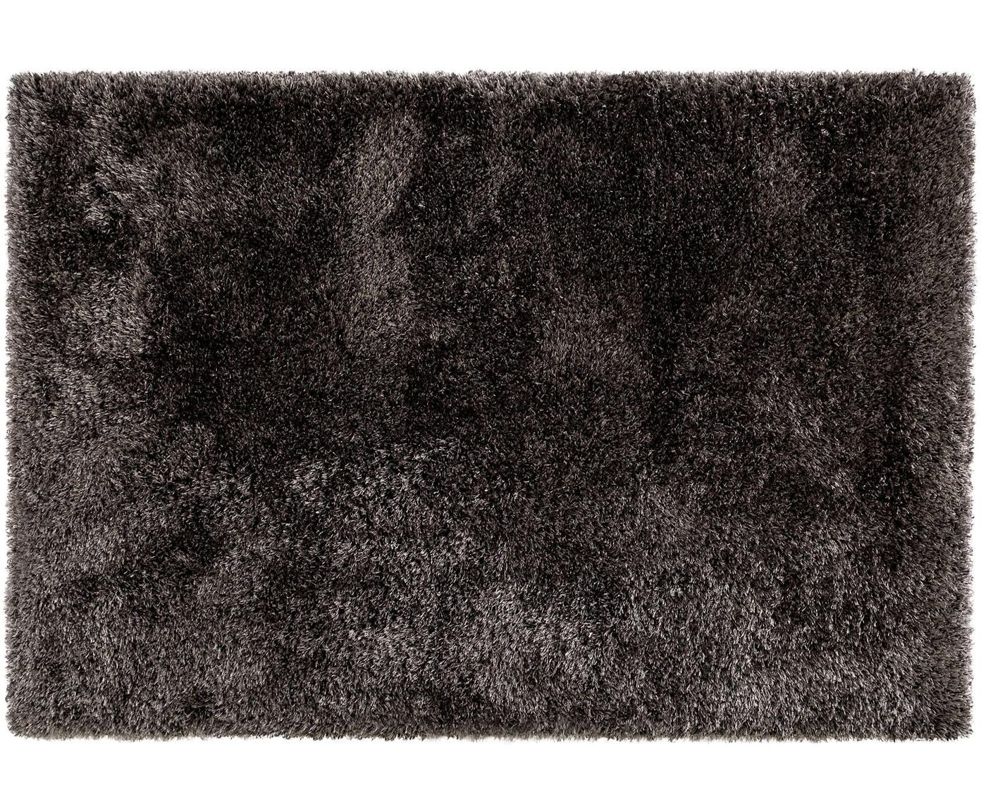 Glanzend hoogpolig vloerkleed Lea, 50% polyester, 50% polypropyleen, Antraciet, B 140 x L 200 cm (maat S)