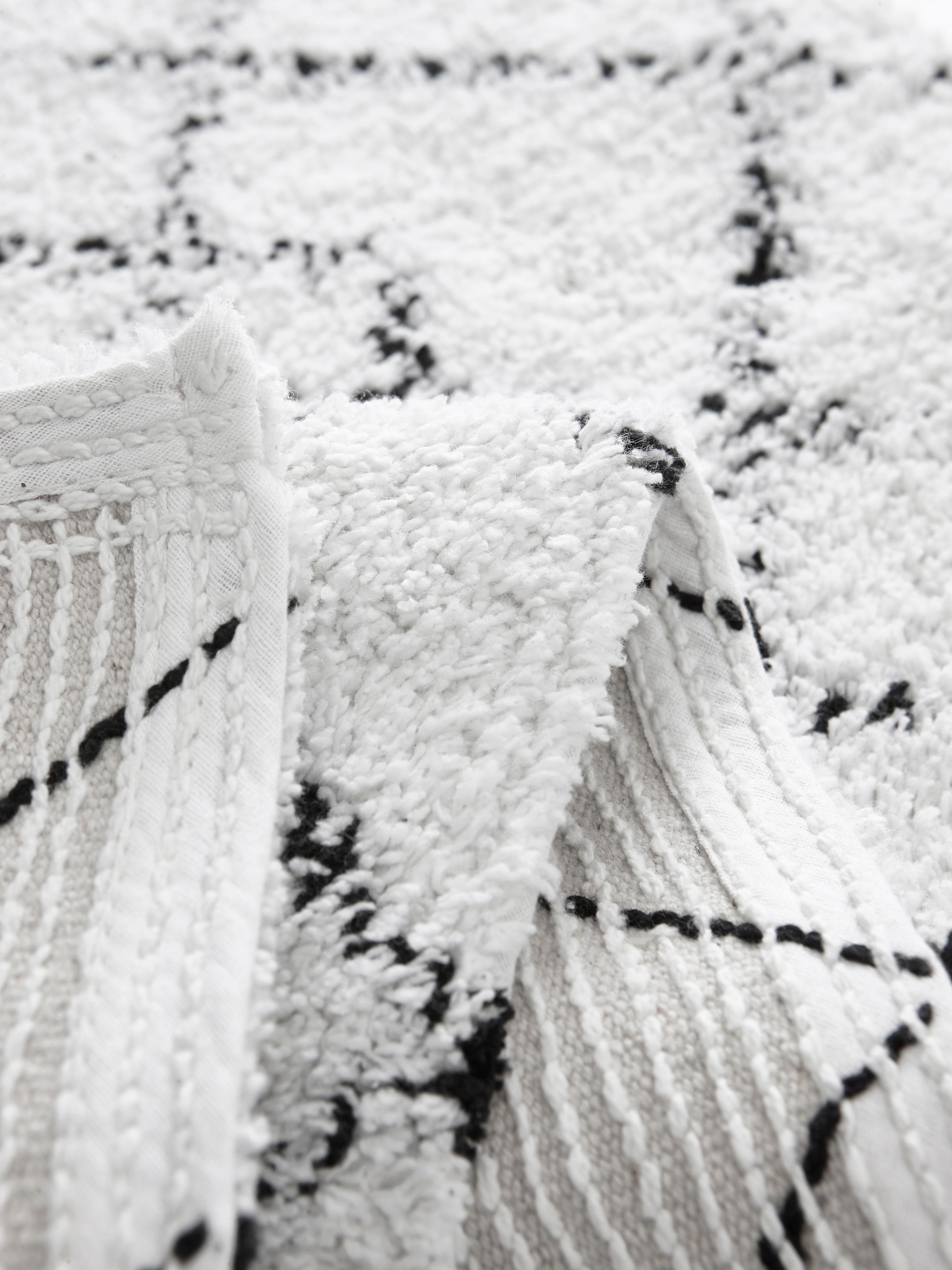 Alfombrilla de baño Paola, Algodón, Blanco, negro, An 50 x L 80 cm