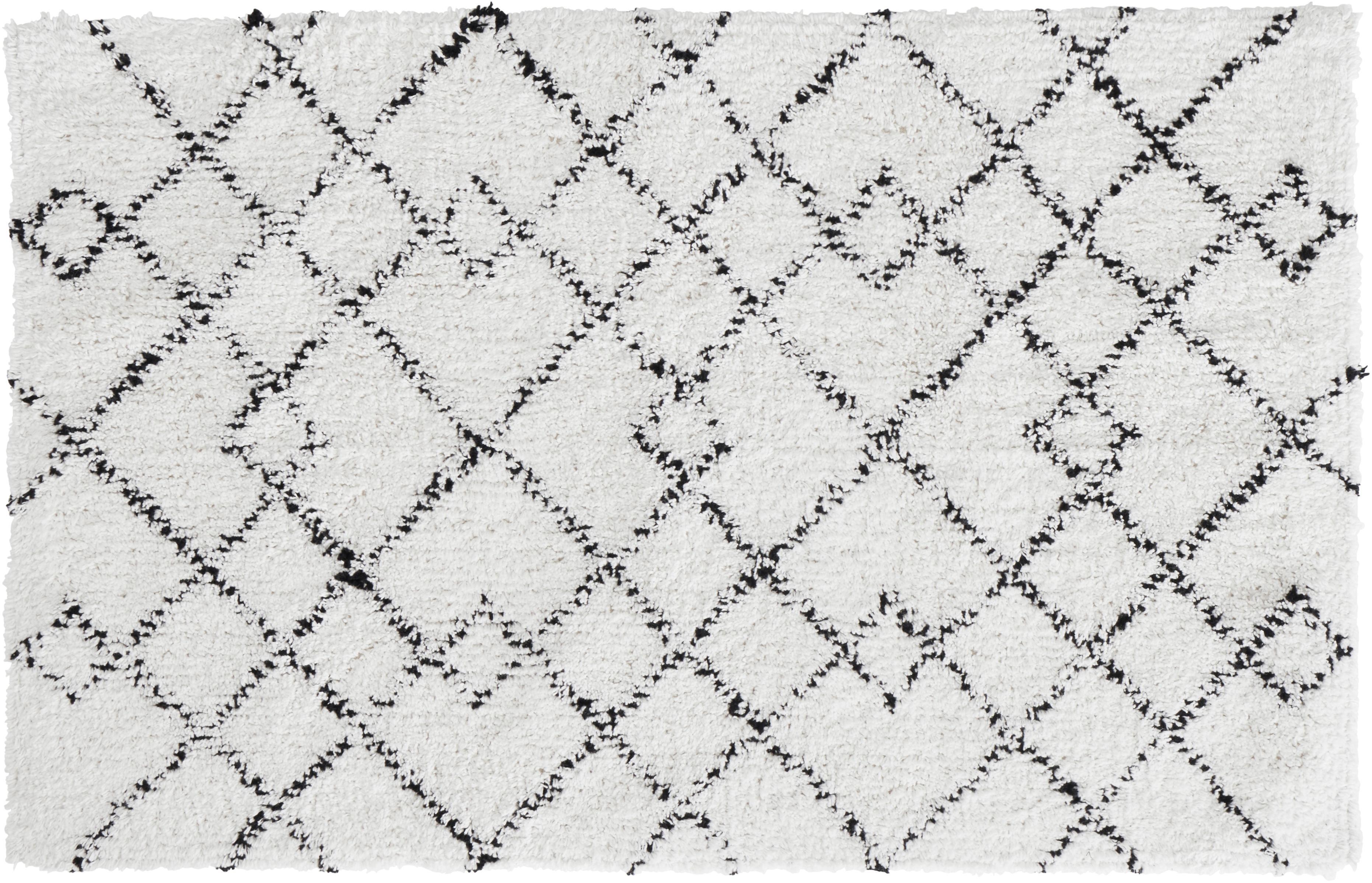 Tappeto bagno nero/bianco Paola, 100% cotone, Bianco, nero, Larg. 50 x Lung. 80 cm