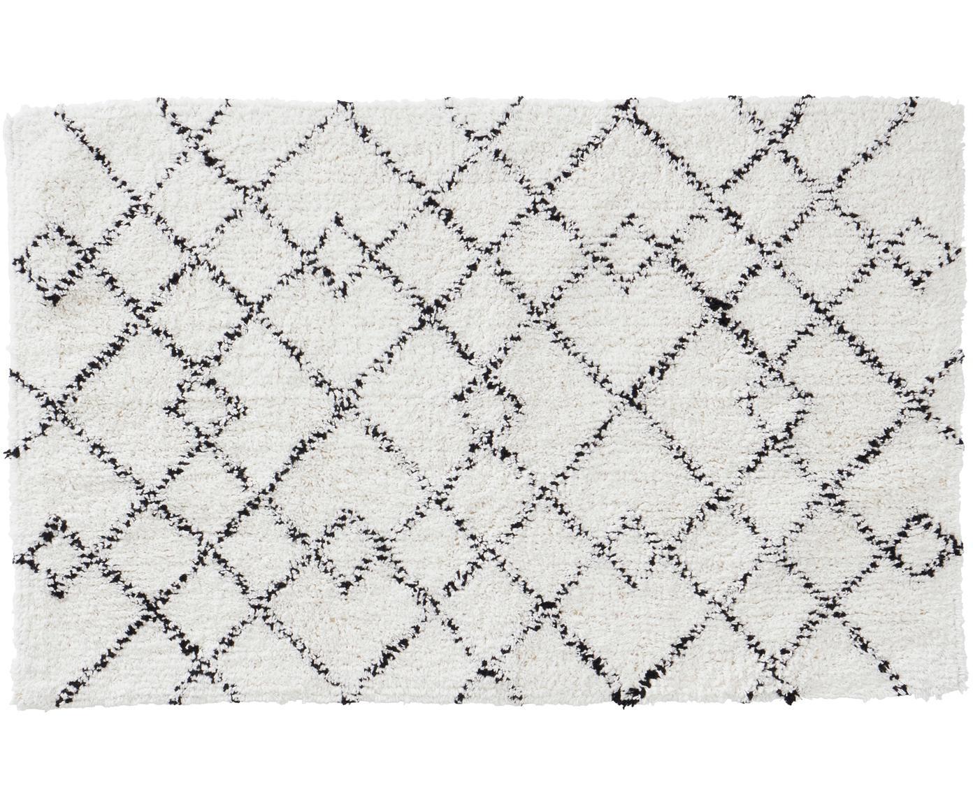 Tappeto bagno nero/bianco Paola, Cotone, Bianco, nero, Larg. 50 x Lung. 80 cm