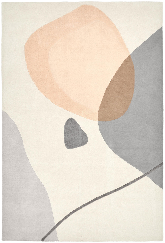 Handgetufteter Wollteppich Luke mit abstraktem Muster, Flor: 100% Wolle, Beige, Grau, Apricot, B 120 x L 180 cm (Größe S)