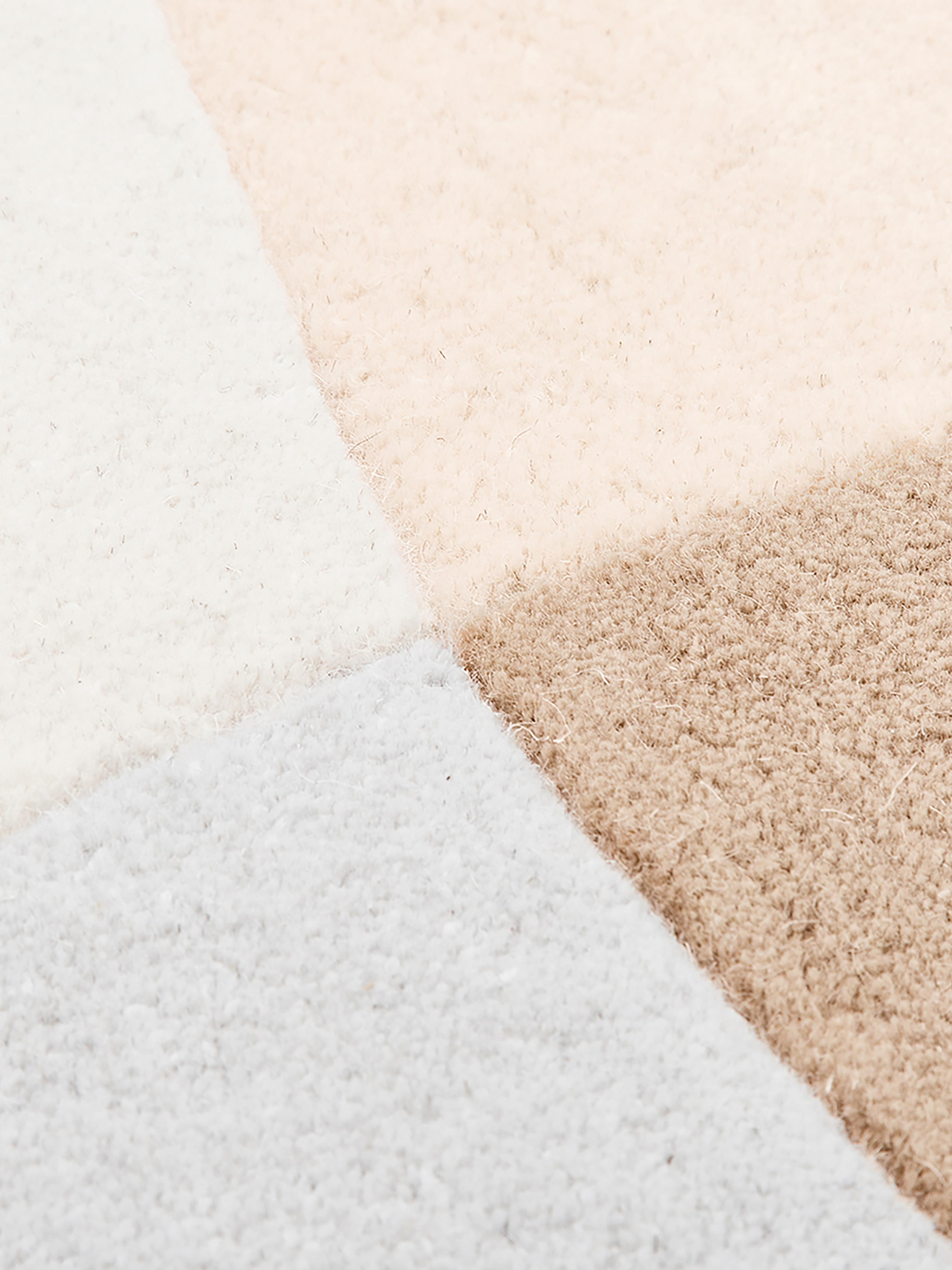 Handgetufteter Wollteppich Luke mit abstraktem Muster, Flor: 100% Wolle, Beige, Grau, Apricot, B 200 x L 300 cm (Grösse L)