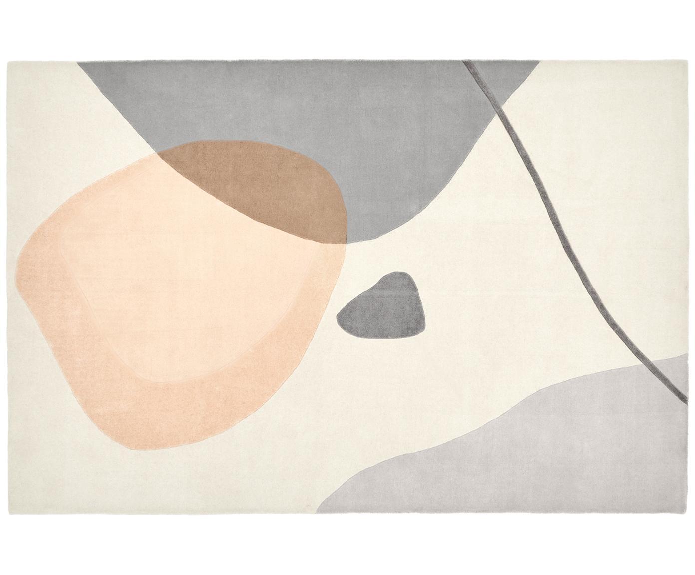 Handgetuft wollen vloerkleed Luke, Bovenzijde: wol, Onderzijde: katoen, Beige, grijs, abrikooskleurig, B 120 x L 180 cm (maat S)