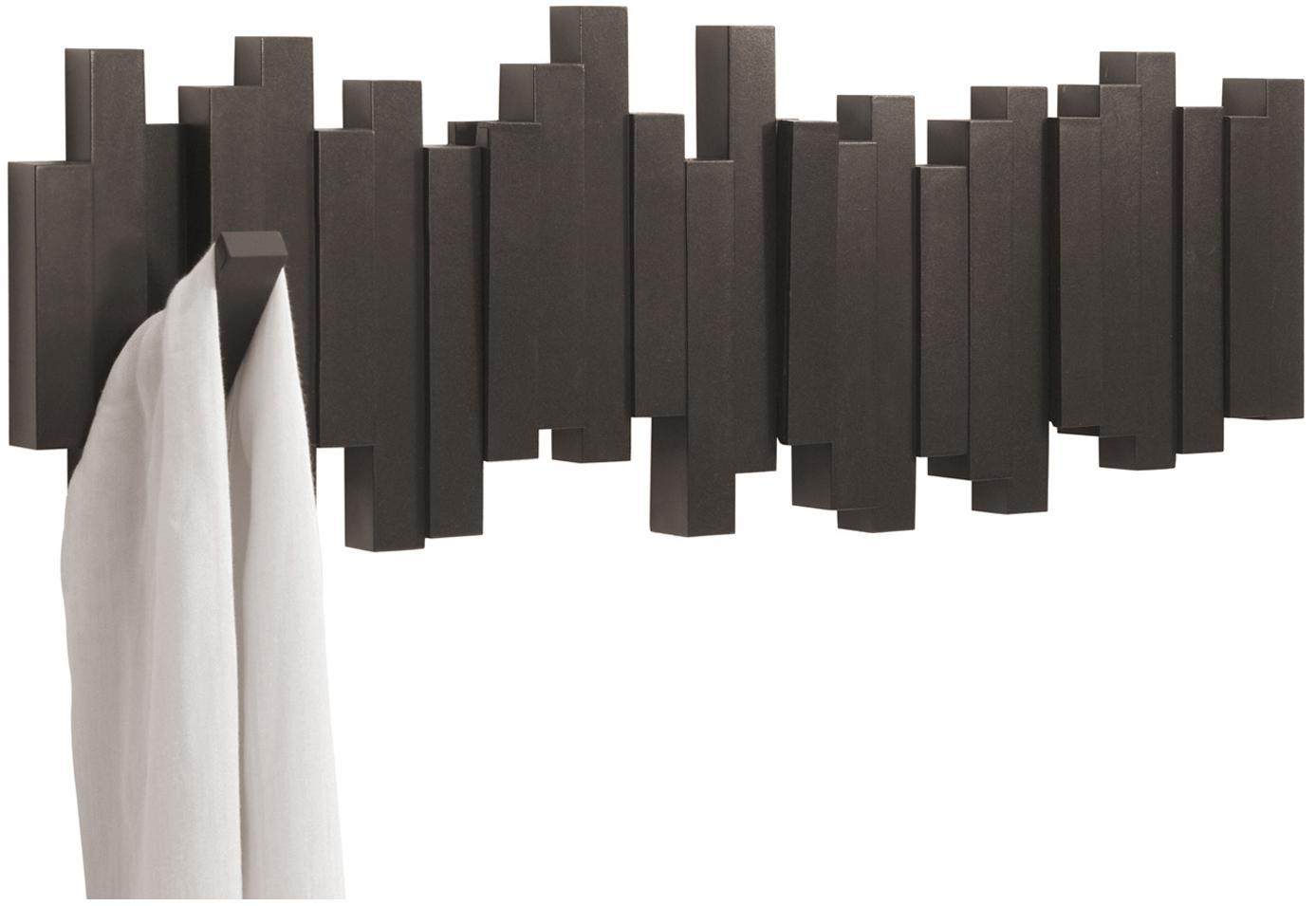 Perchero de pared Sticks, Plástico, Marrón café, An 48 x Al 18 cm
