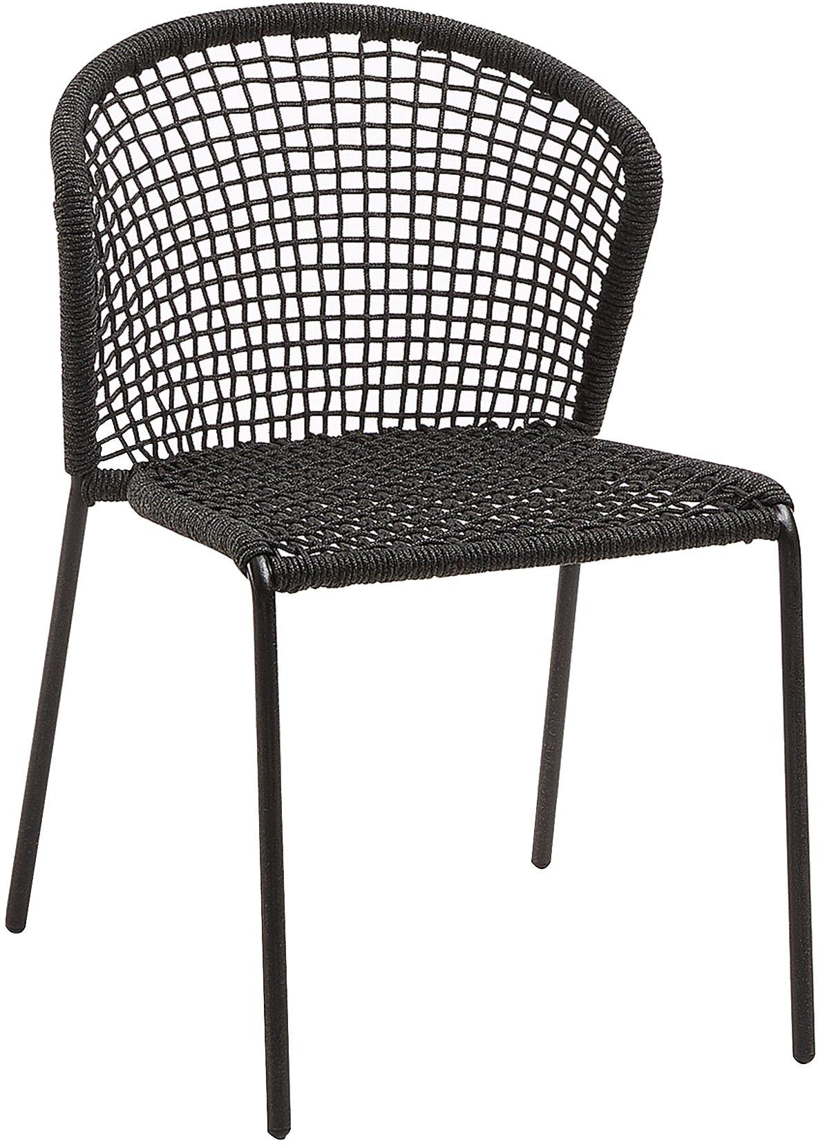Gartenstühle Mathias, 2 Stück, Sitzschale: Polyester, UV-stabilisier, Beine: Metall, pulverbeschichtet, Dunkelgrau, B 55 x T 62 cm