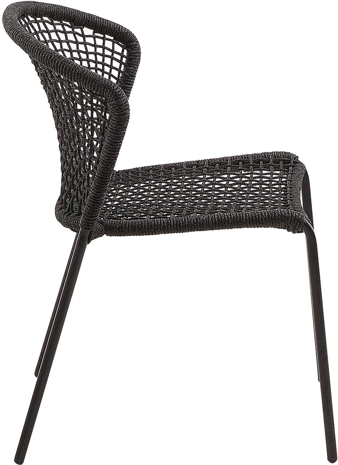 Outdoor stoelen Mathias, 2 stuks, Poten: gepoedercoat metaal, Donkergrijs, B 55 x D 62 cm