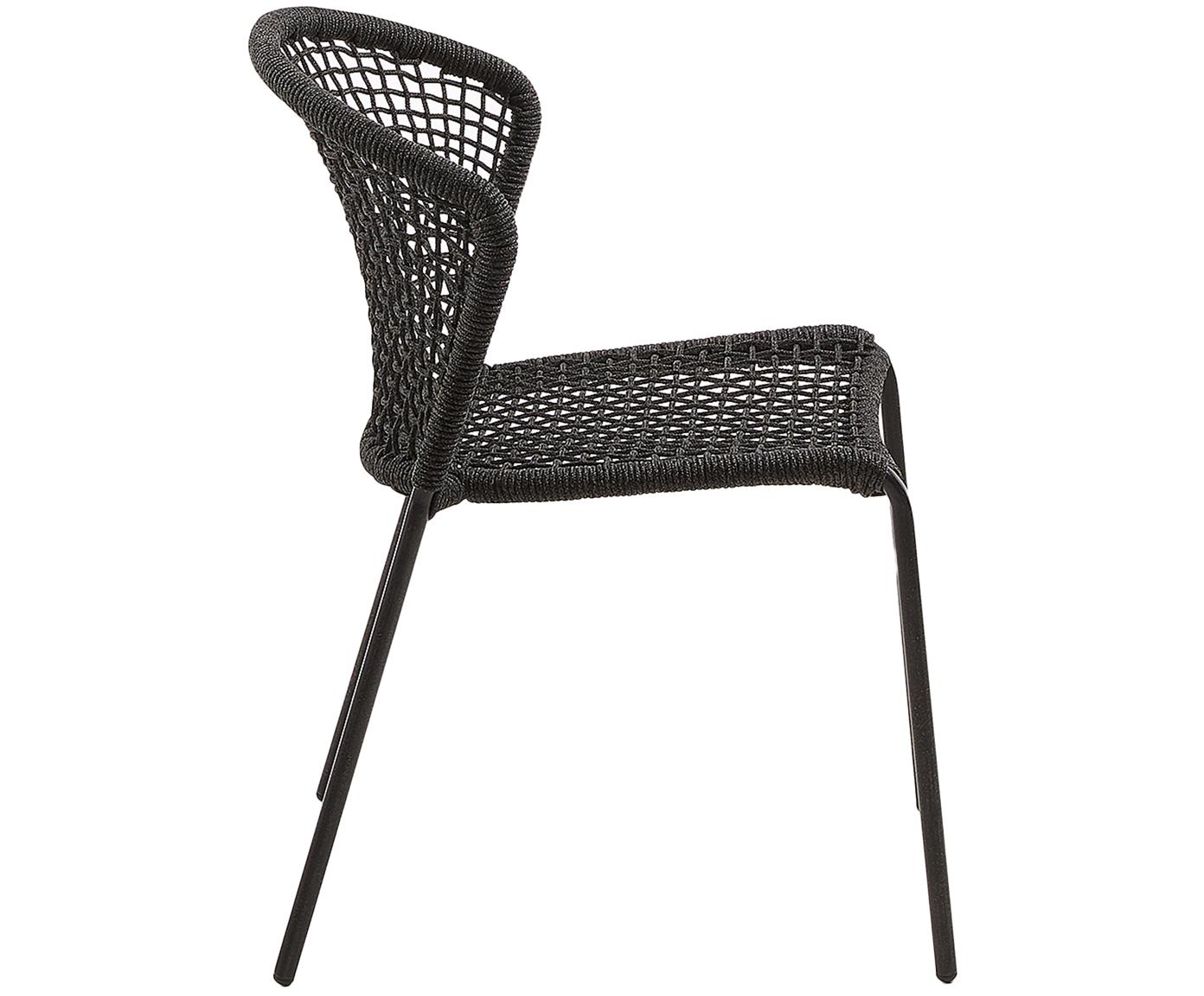 Krzesło ogrodowe Mathias, 2 szt., Nogi: metal malowany proszkowo, Ciemnyszary, S 55 x G 62 cm