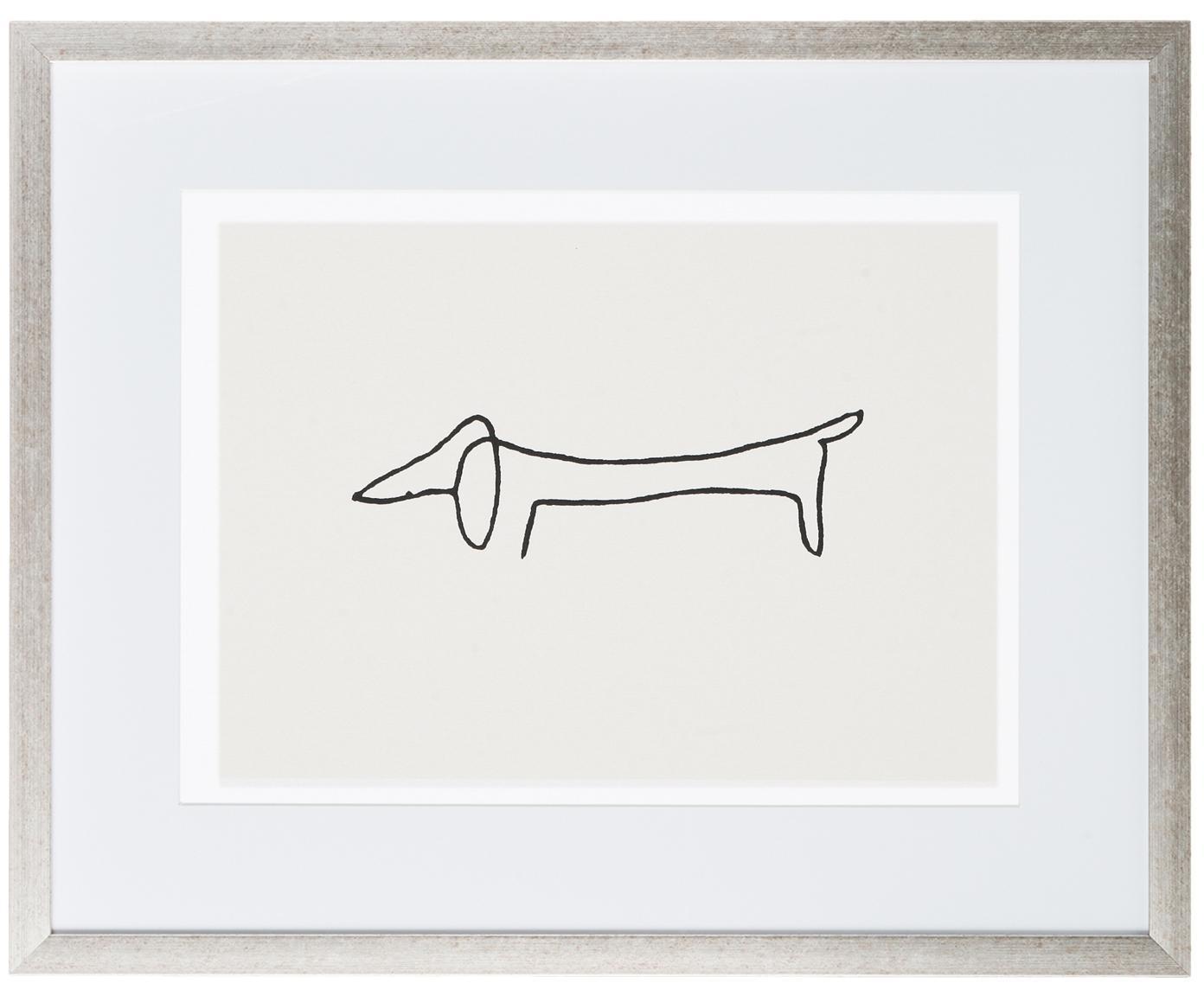 Oprawiony druk cyfrowy Picasso's Dackel, Stelaż: tworzywo sztuczne, antycz, Ilustracja: czarny, biały Stelaż: odcienie srebrnego, S 50 x W 40 cm
