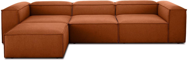Sofá modular Lennon, Tapizado: poliéster Resistencia a l, Estructura: madera de pino maciza, ma, Patas: plástico, Tejido terracota, An 326 x F 207 cm