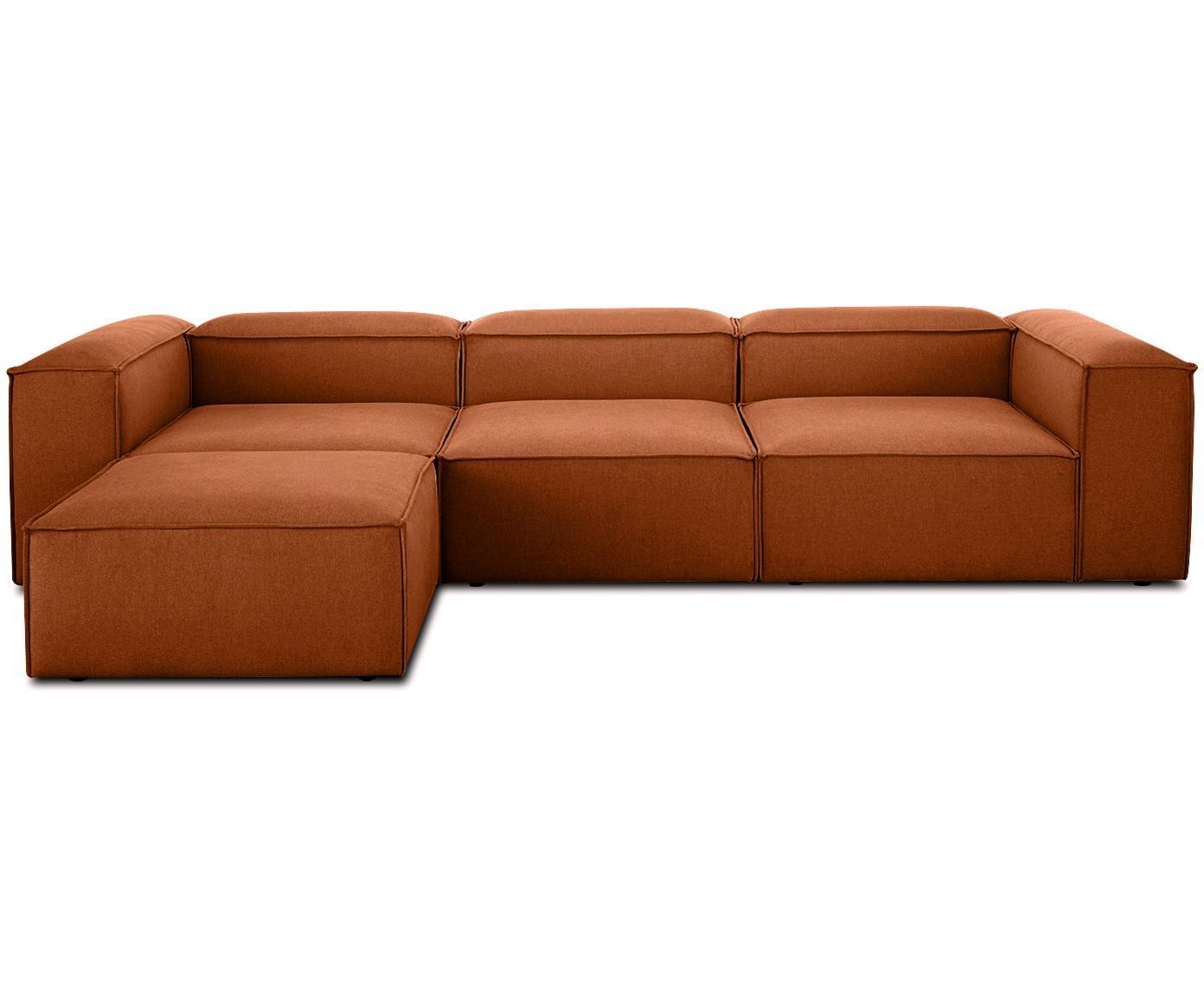Sofa modułowa narożna Lennon, Tapicerka: poliester 35 000 cykli w , Stelaż: lite drewno sosnowe, skle, Nogi: tworzywo sztuczne, Terakota, S 326 x G 207 cm