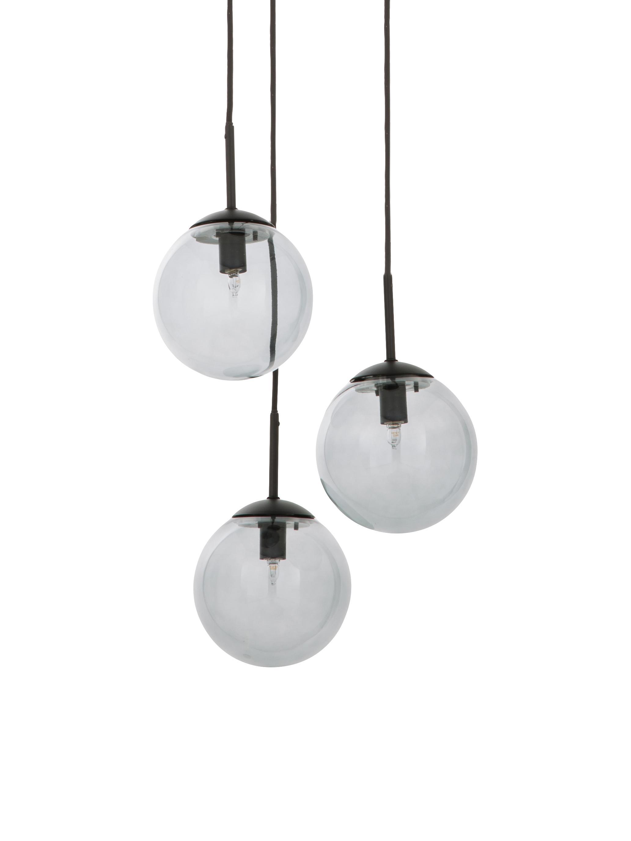 Lampada a sospensione in vetro Edie, Paralume: vetro, Grigio, nero, Ø 30 cm