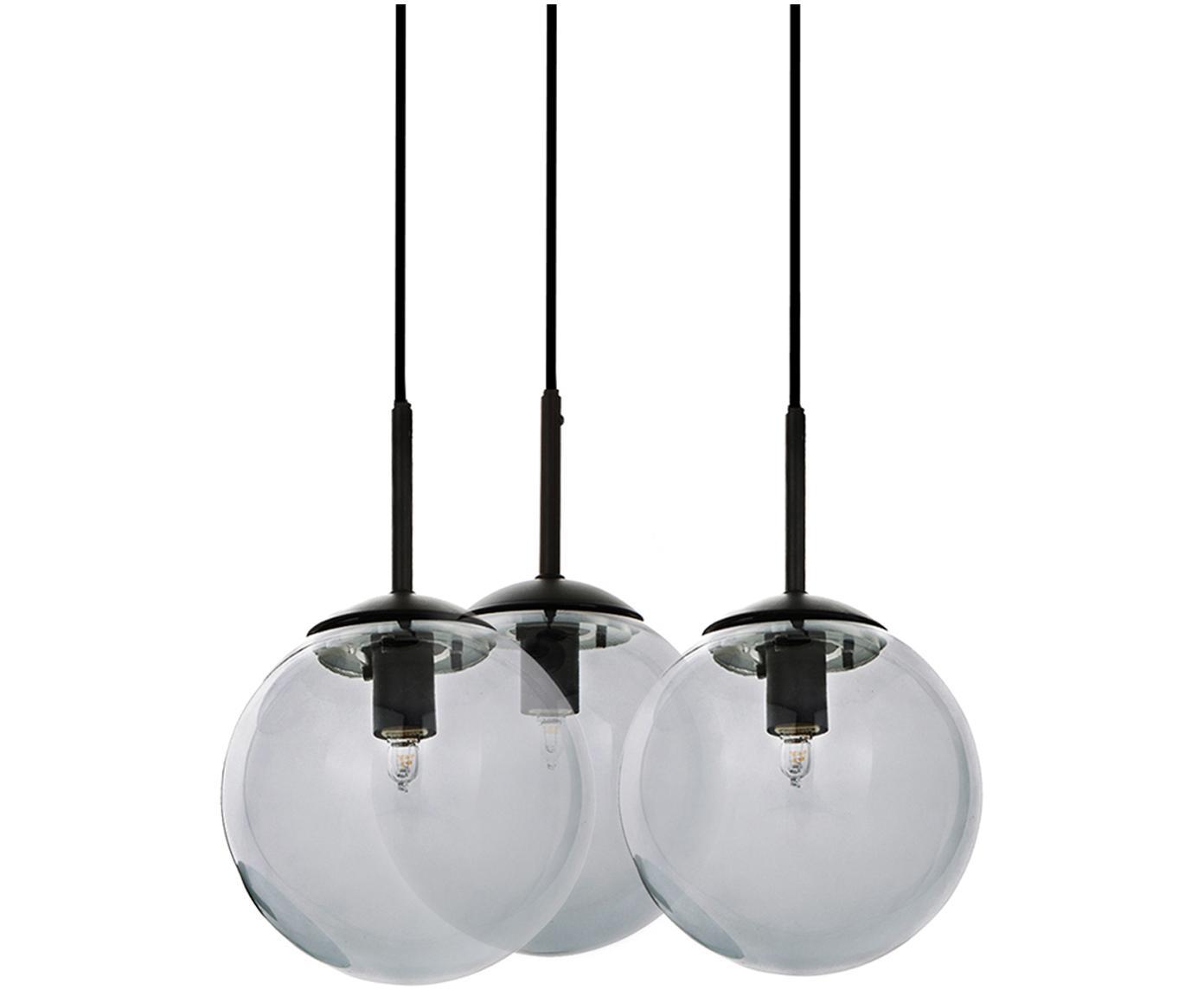 Pendelleuchte Edie aus Glas, Grau, Schwarz, Ø 30 cm