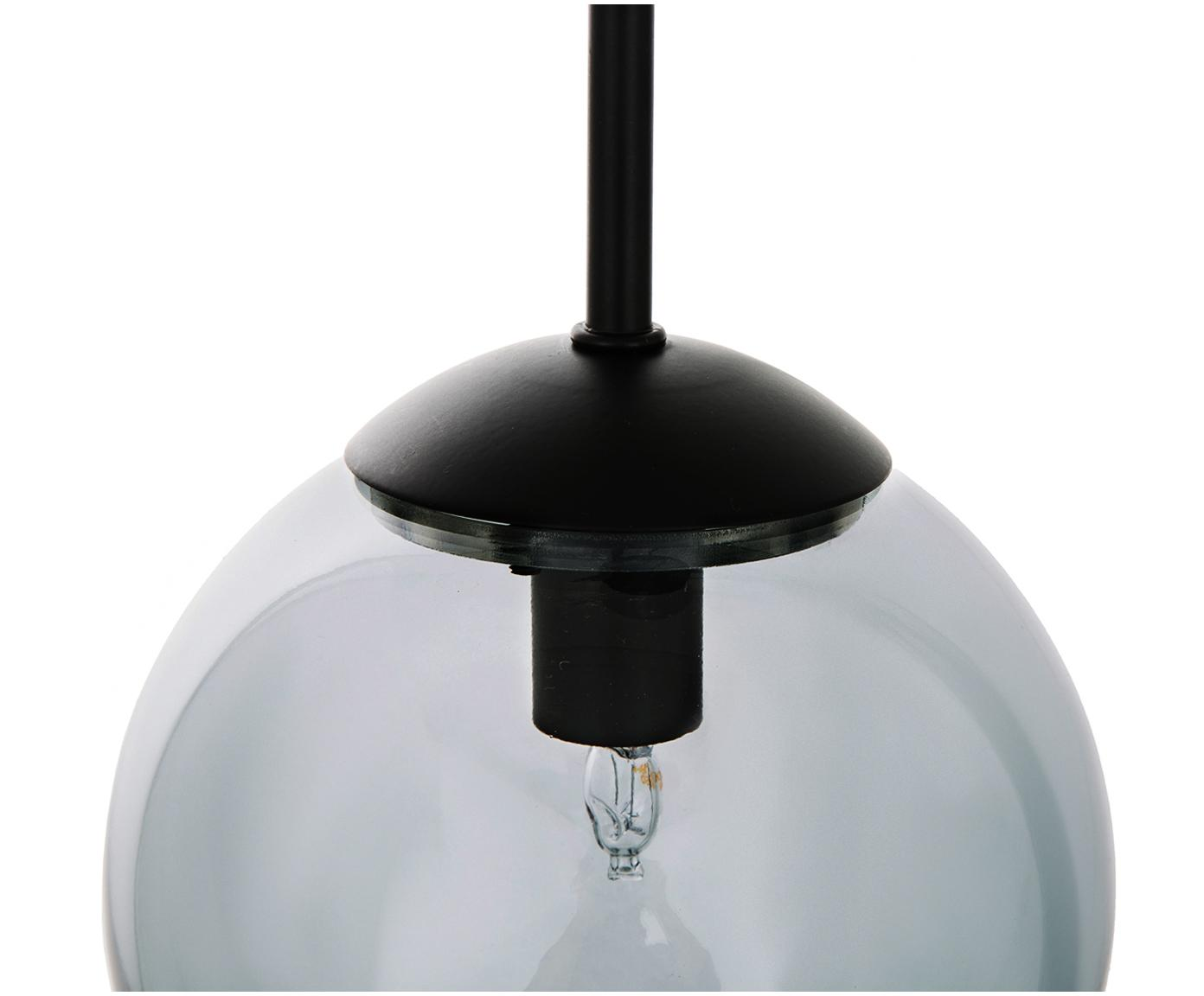 Hanglamp Edie van glas, Grijs, zwart, Ø 30 cm
